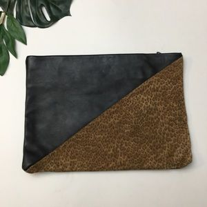 Vintage Leather Leopard Suede Rectangle Zip Clutch